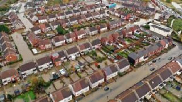 Aerial view of flooded streets in Doncaster