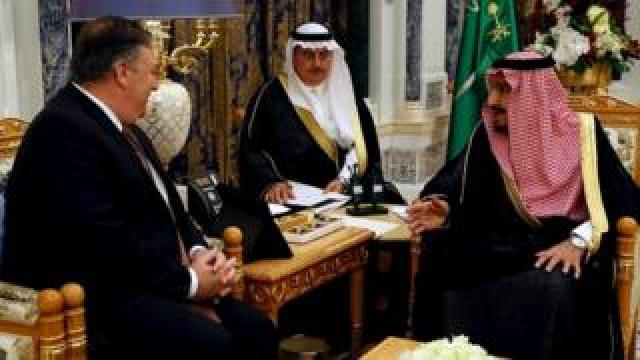 Mike Pompeo with King Salman in Riyadh