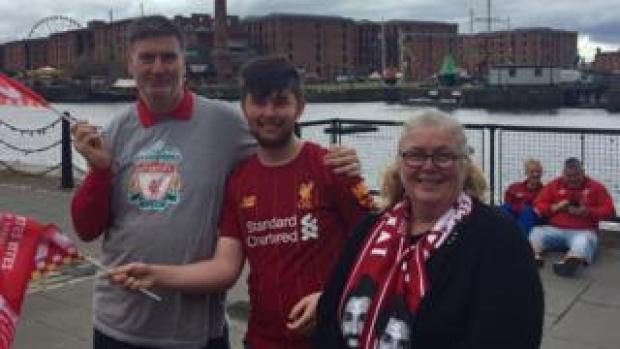 Liverpool fan Dave Williams and family