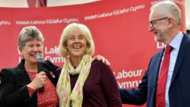 Jeremy Corbyn with Ruth Jones (centre) and Welsh Labour minister Jane Hutt