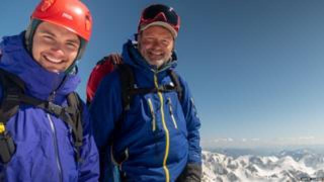 Jamie Clarke and his son Khobe in Mongolia