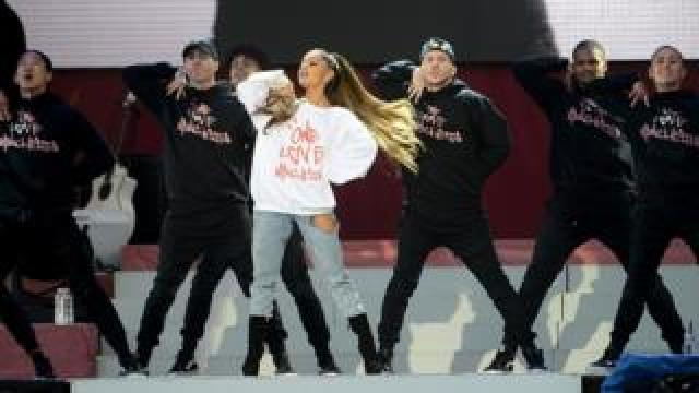 Ariana Grande performing in Manchester