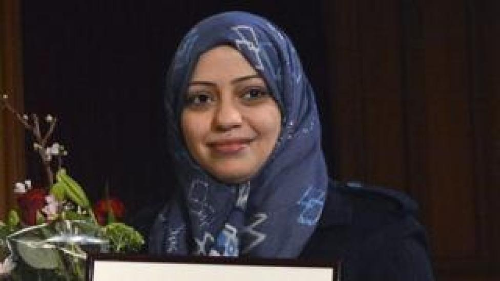 Samar Badawi, receives the Olof Palme prize at the 2nd chamber of the Swedish Parliament in Stockholm, Sweden, 25 January 2013 (