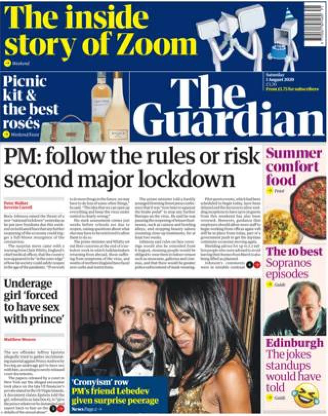 The Guardian front page 1 August