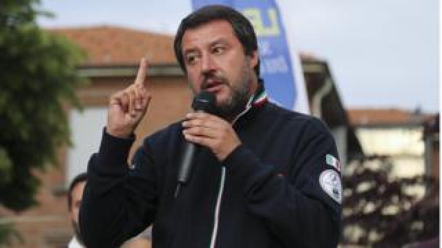 Matteo Salvini in Settimo Torinese, Milan on 12 May