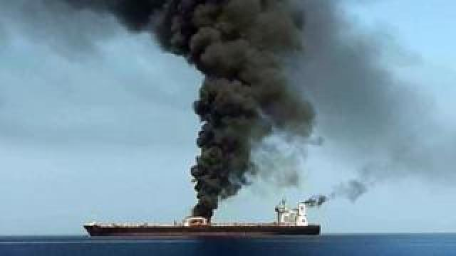 Image from Iranian State TV showing smoke billowing from a tanker in the Gulf of Oman