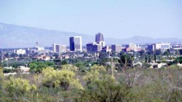 The city skyline of Tuscon, Arizona
