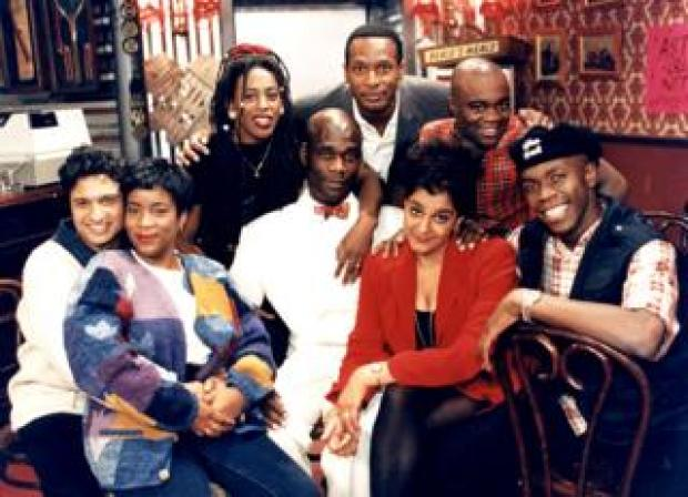 Kulwinder Ghir, Llewella Gideon, Judith Jacob, Leo Chester, Felix Dexter, Ishmael Thomas, Meera Syal and Robbie Gee seen in a promotional photo of series five of The Real McCoy