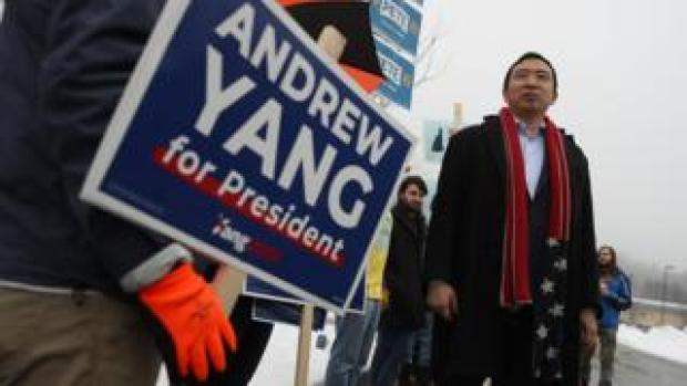 Andrew Yang campaigning in New Hampshire, 11 February 2020