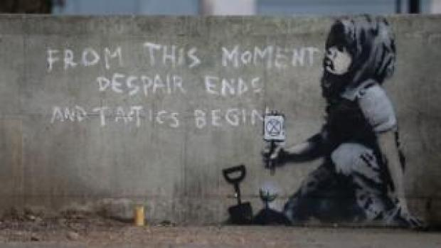 Possible Banksy image at Marble Arch