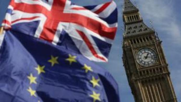 EU and Union flags at Westminster