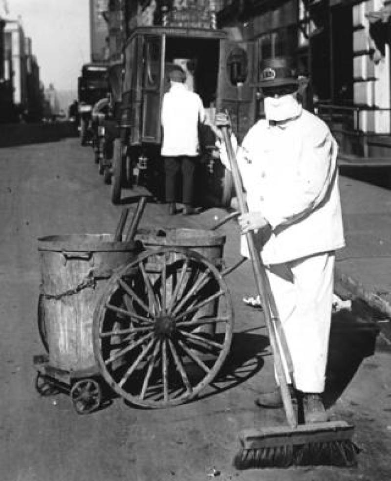 Man cleaning the street