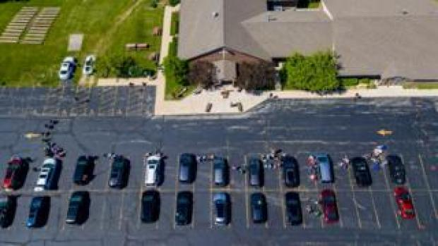 Cars parked at the church for the confirmation ceremony