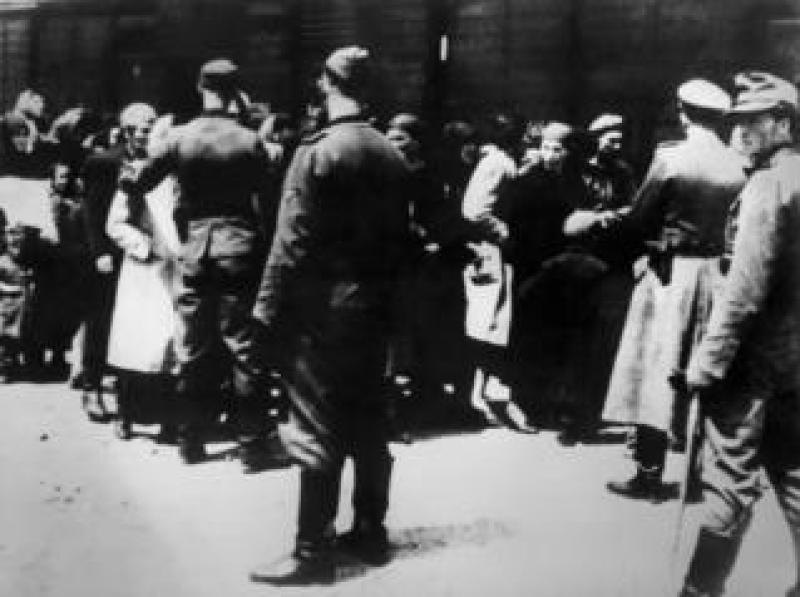 Arrival of prisoners at Auschwitz