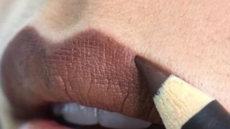 woman's face with facial hair