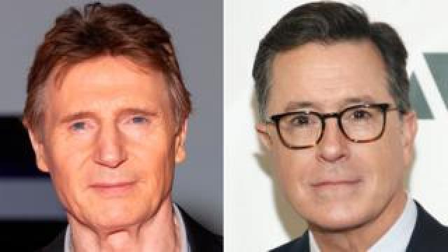 Liam Neeson and Stephen Colbert