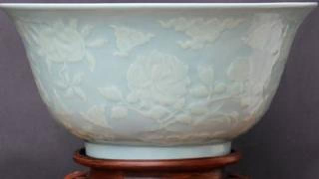 Chinese carved celadon bowl