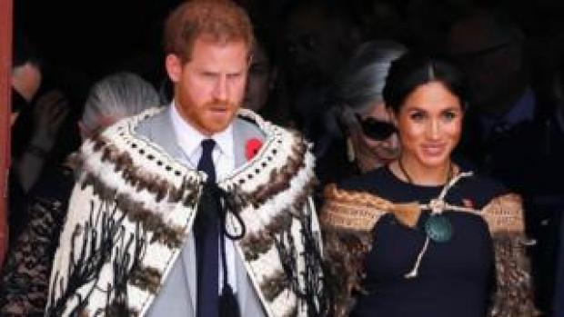 Prince Harry and Meghan, the Duchess of Sussex attend a formal powhiri welcoming ceremony and luncheon in Te Papaiouru, Rotorua, New Zealand