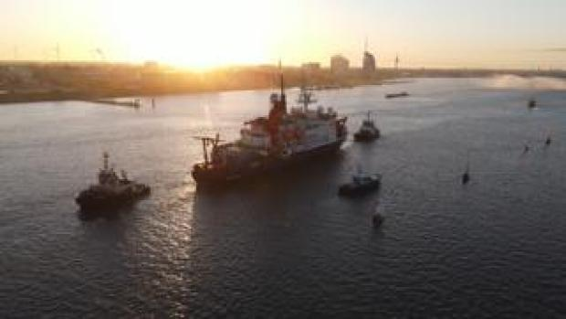 RV Polarstern returns to the port city Bremerhaven early on Monday