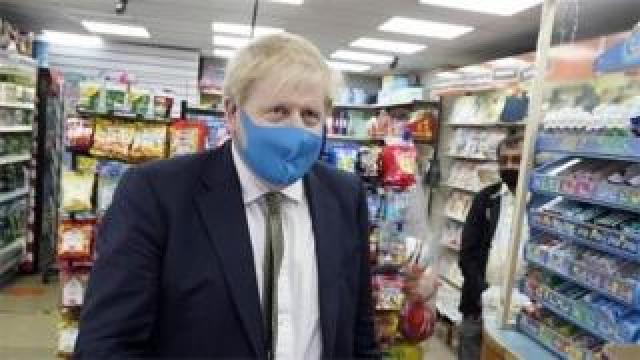 Boris Johnson wearing face mask