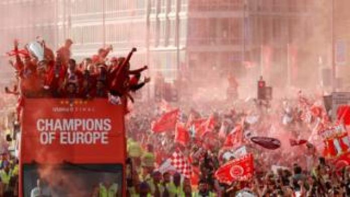 Liverpool players on bus