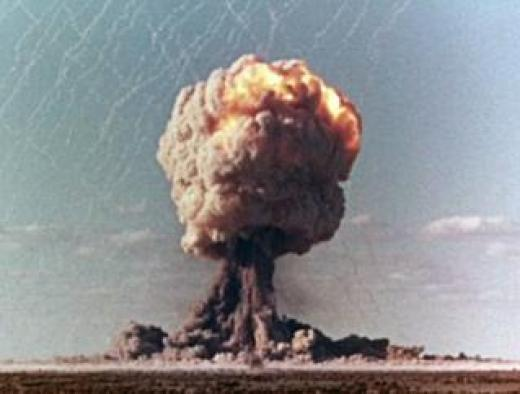 A mushroom cloud forms at Maralinga, South Australia.