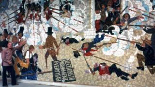 Kenneth Budd with Newport's Chartist mural