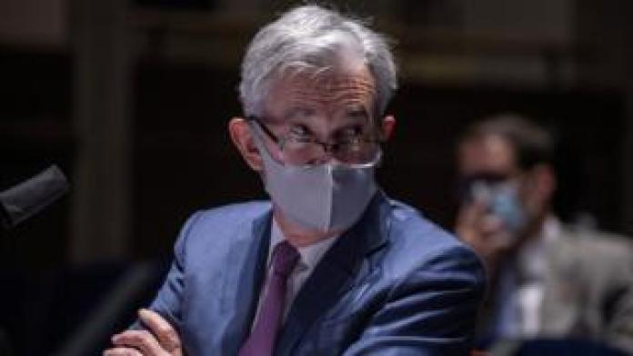 Fed Chair Jerome Powell in a face mask