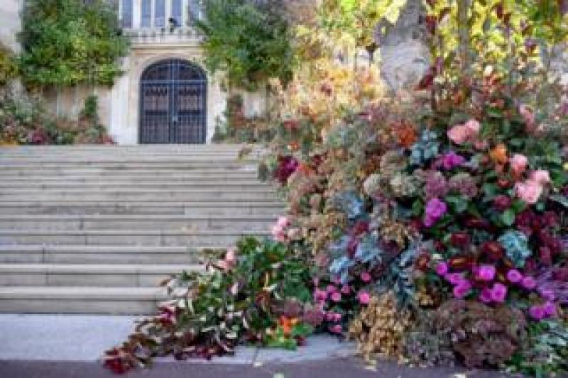 Flowers are seen decorating the West Door of St Georg's Chapel