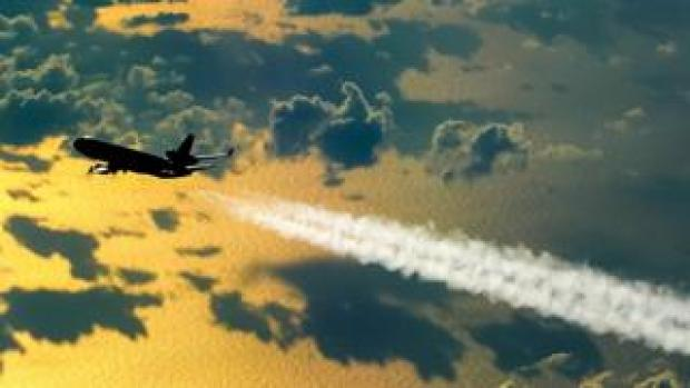 Passenger jet contrail