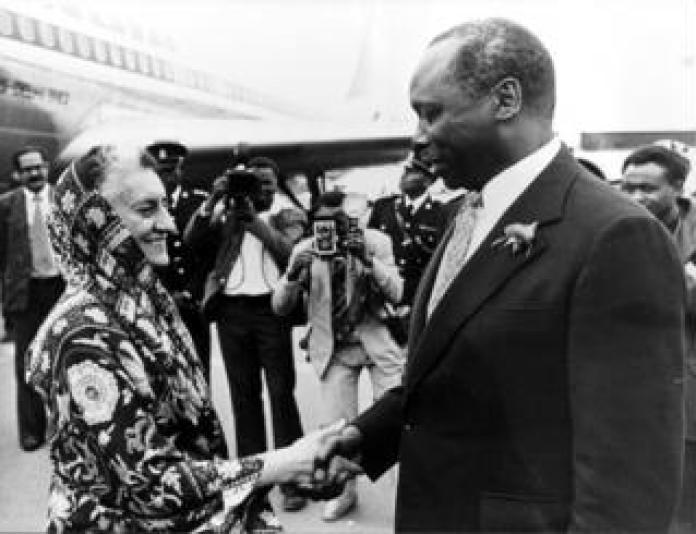 Daniel arap Moi meeting Indian Prime Minister Indira Gandhi at the airport in Kenya in September 1981.