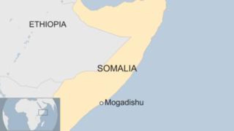 Map showing Somalia and Mogadishu