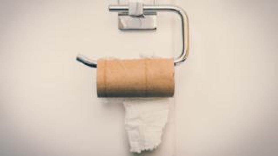 Near-empty roll of toilet paper