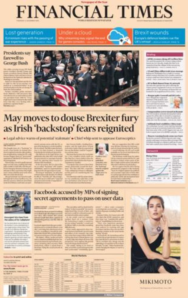 Financial Times front page, 6/12/18