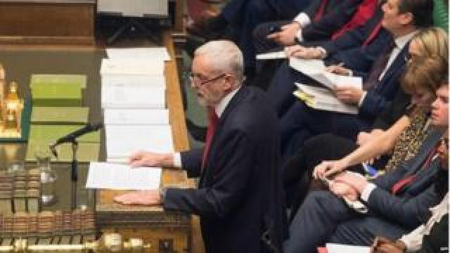 Jeremy Corbyn speaking in Parliament on Wednesday
