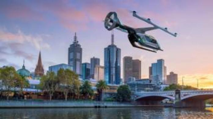 An image of Uber's flying taxi against the Melbourne skyline