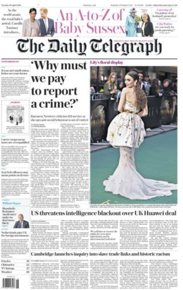 Daily Telegraph front page - 30/04/19
