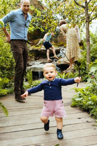 Prince George running at the Chelsea Flower Show