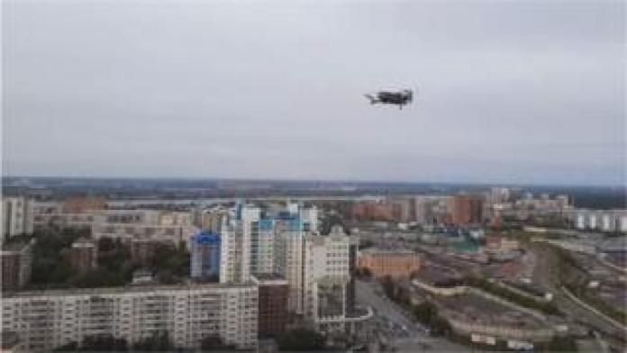 A drone released by a Russian activist