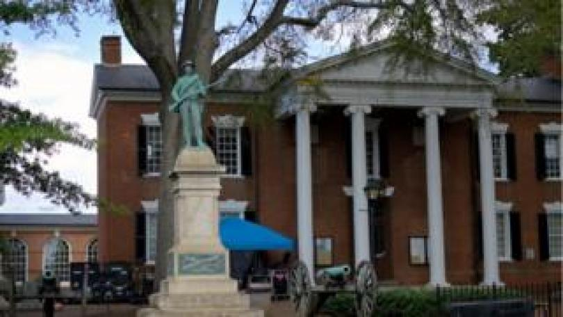 The confederate soldier statue pictured at the Albemarle County courthouse before its removal