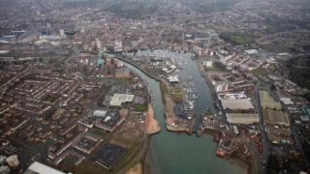 Aerial view of Ipswich flood barrier