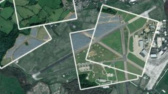 Promo image showing the RAF Lyneham solar farm before and after
