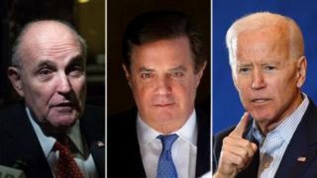 A three-part composite shows Rudy Giuliani, Paul Manafort, and Joe Biden
