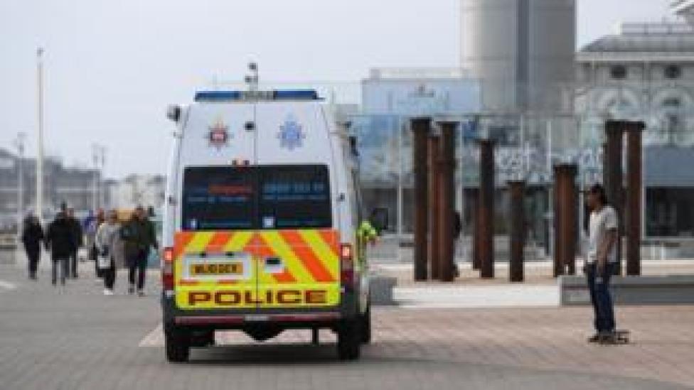 Police van on Brighton seafront