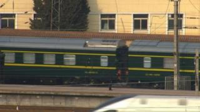 A train believed to be carrying North Korean leader Kim Jong Un leaves Beijing Railway Station in Beijing, China, January 9, 2019, in this still image taken from Reuters TV footage.