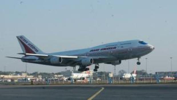 View of the Air India Aeroplane at IGI International Airport in New Delhi, India