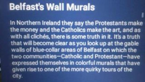 Text from Singapore Airlines' guide to Belfast