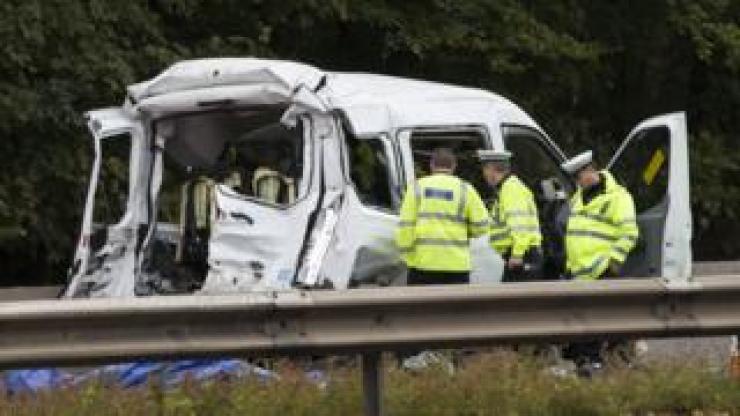 Minibus crash site