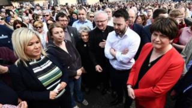NI politicians at a vigil for Lyra McKee