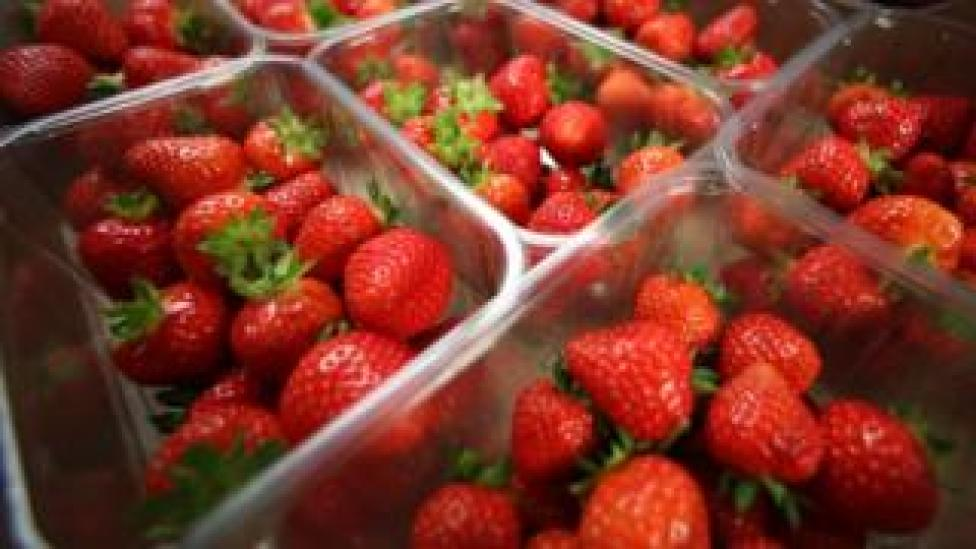 NEWS Punnets of strawberries in a supermarket